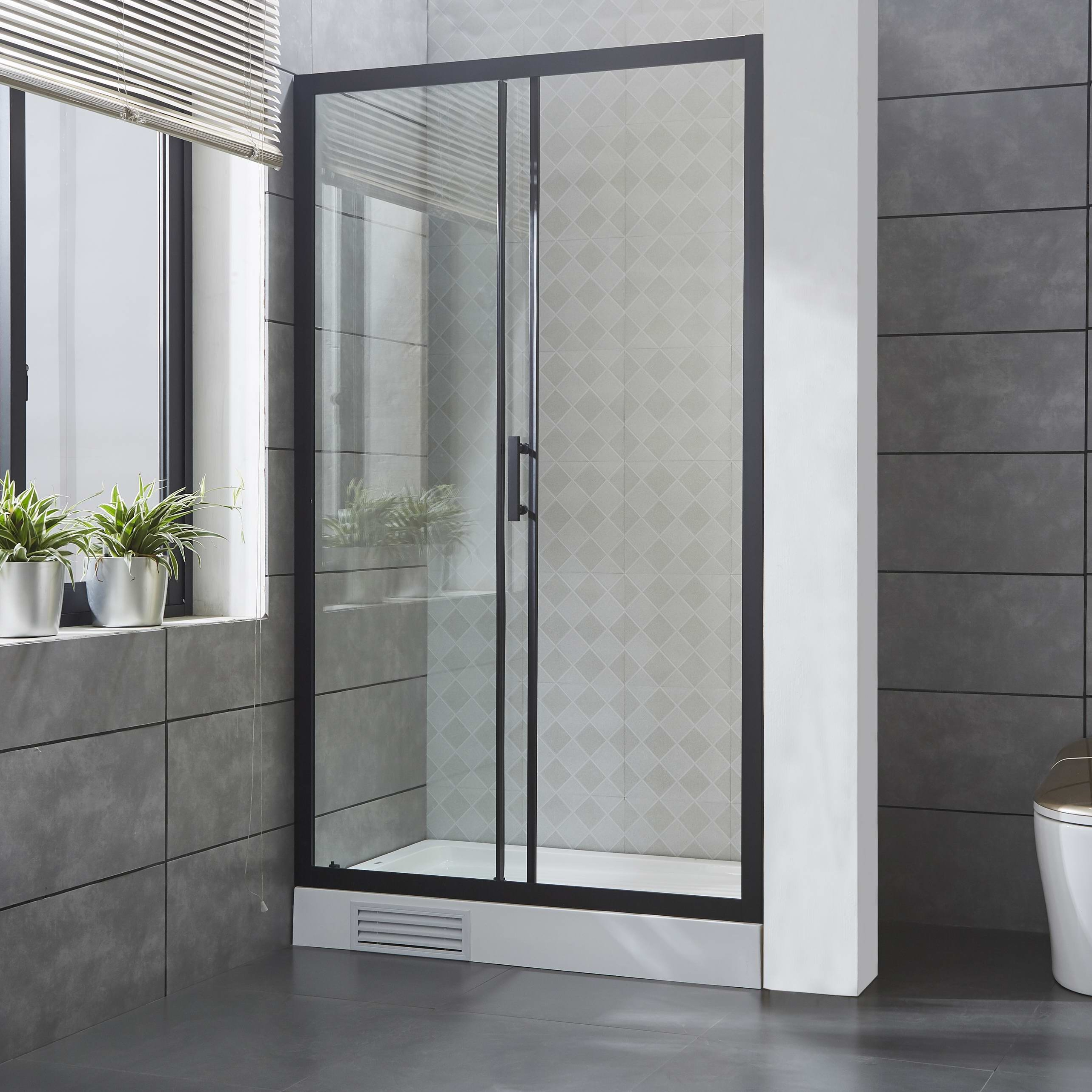 Matte Black 6MM Tempered Glass Shower Door Shower Enclosure with Nano Glass And Anti-exploding Protected Film