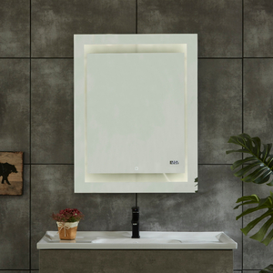 CE IP44 New Style 4 Sides Frame Illuminated LED Bathroom Mirror with Clock