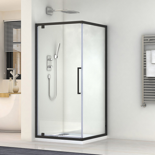 6MM Matt Black Pivot Glass Shower Door Bathroom Shower Enclosure Shower Room