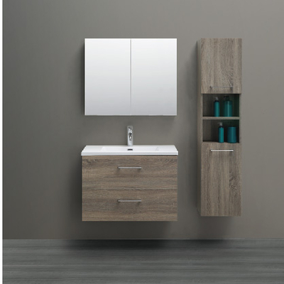 Wall Mounted Bathroom Cabinet Wood Color With 2 Doors and Side Cabinet