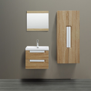 Wall Mounted Bathroom Cabinet Wood Color With 2 Drawers and Side Cabinet