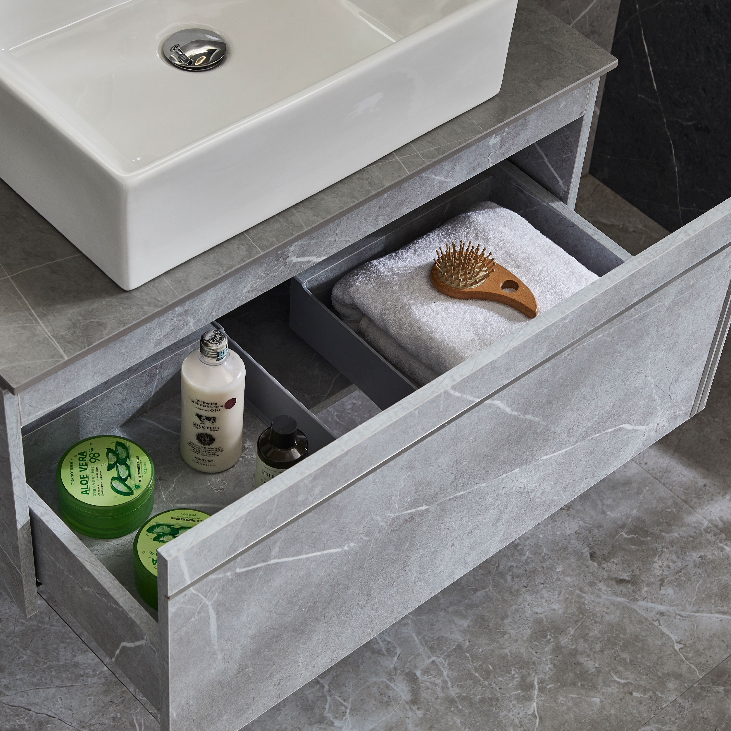 Bathroom Cabinets Wall Mounted Vanity With Sintered Stone Top