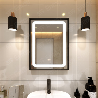 LED Mirror With Lights Rectangle Iron Frame Mirror Bathroom Wall