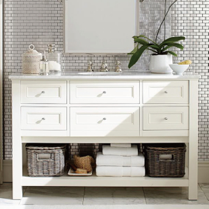 140CM Modern Floor Standing Bathroom Cabinet Furniture Lacquer Finish White Color