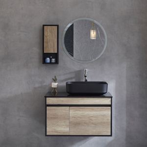 Bathroom Cabinets Wall Mounted Vanity With Black Basin