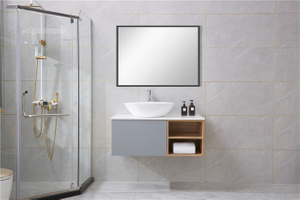 Cement Grey Chinese Mirrored Single Bathroom Cabinets Vanity