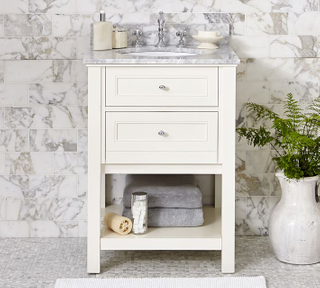 Modern Floor Standing Bathroom Cabinet Furniture Lacquer Finish White Color